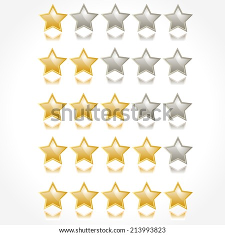 Set of rating stars. From one to five stars. Vector illustration. - stock vector