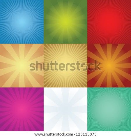 set of rays backgrounds - stock vector