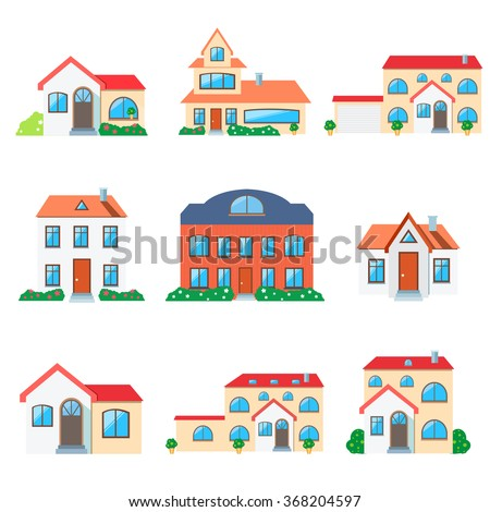 Set of real estate. Small house. House icon. Isolated house. Home house in flat design style. Colorful residential houses. Home, building, house exterior, real estate,  family house, modern house - stock vector