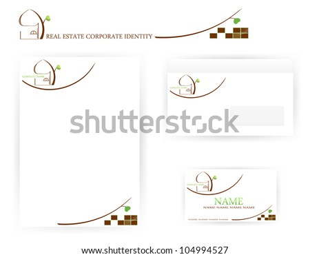 set of real estate templates with abstract house and tree - stock vector