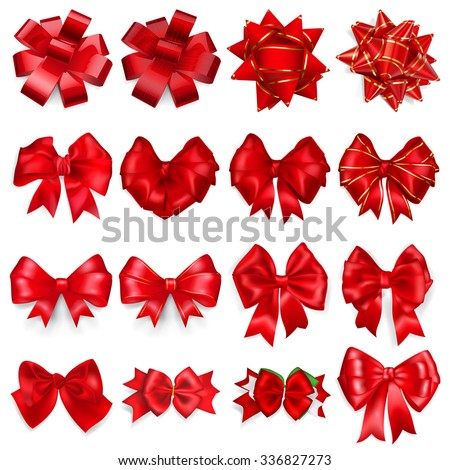 Set of realistic beautiful bows made of red ribbons with shadows - stock vector