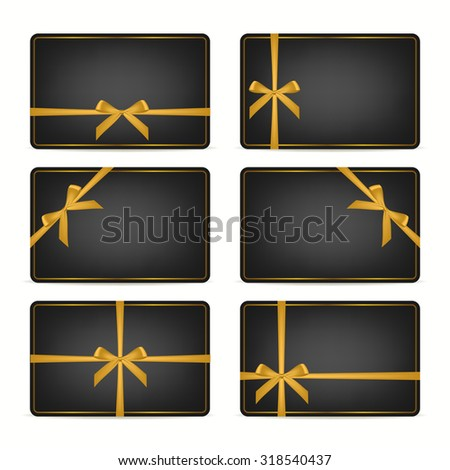Set of realistic black gift cards with gold ribbons and golden frame. Vector EPS10 illustration.  - stock vector