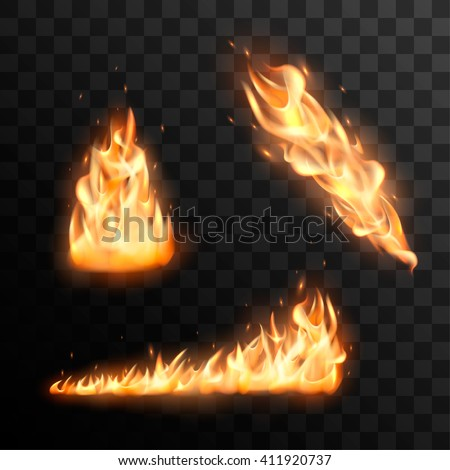Set of realistic burning fire flames vector effect for design. Trail of fire vector effect. - stock vector