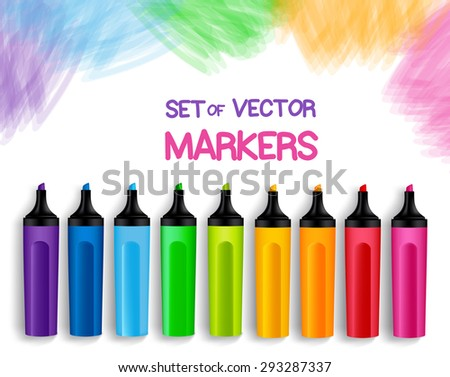 Set of Realistic 3D Colorful Full Markers in a Brushed White Background with Texture for Back to School with White Space for Message. Vector Illustration - stock vector