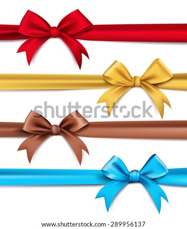 Set of Realistic 3D Silk or Satin Ribbons and Bow for Elements and Decorations for Valentines Day and Birthday Celebrations. Isolated Vector Illustration - stock vector