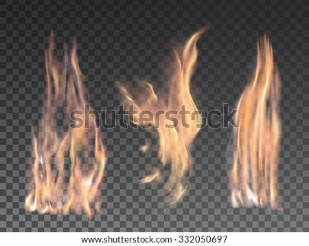 Set of realistic fire flames on transparent background. Special effects. Vector illustration. Translucent elements. Transparency grid. Isolated fire flames. - stock vector
