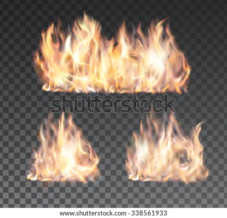 Set of realistic fire flames on transparent background. Special effects. Vector illustration. Translucent elements. Transparency grid. Vector campfire set vol.3 - stock vector