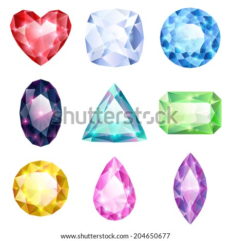 Set of realistic glowing colorful jewels. Different gemstones isolated on white background. - stock vector