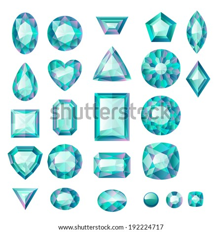 Set of realistic green jewels. Colorful gemstones. Emeralds isolated on white background. - stock vector