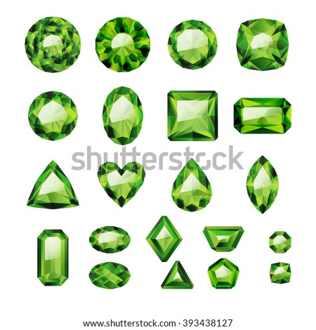 Set of realistic green jewels. Colorful gemstones. Green emeralds isolated on white background. - stock vector