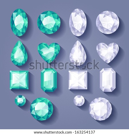 Set of realistic jewels. Colorful gemstones - white and green. - stock vector