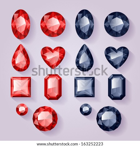 Set of realistic jewels - red and black. Colorful gemstones. - stock vector