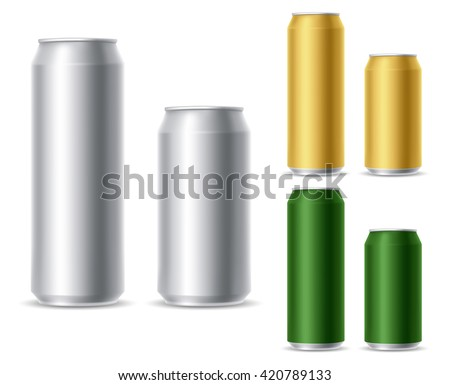 Set of realistic metallic, golden and green beer cans. Blank beer cans, ready for new design. 500 and 300 ml. Isolated vector illustration - stock vector