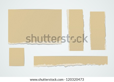 Set of realistic pieces ot torn brown paper. EPS10 vector design elements. - stock vector