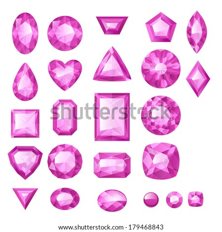 Set of realistic pink jewels. Bright gemstones. - stock vector