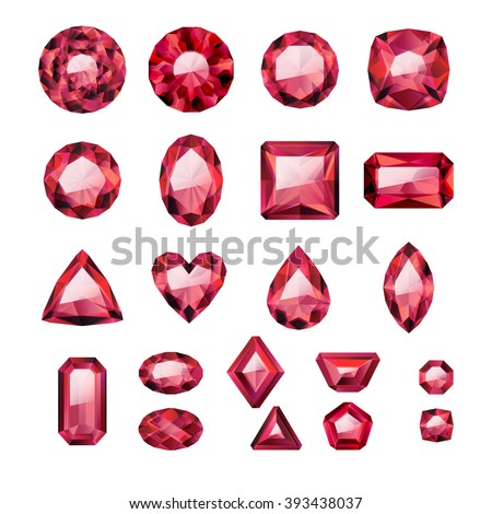 Set of realistic red jewels. Colorful gemstones. Rubies isolated on white background. - stock vector