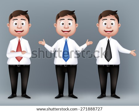 Set of Realistic Smart Professional and Business Man Characters Presenting in Long Sleeve and Necktie Isolated in White Background. Editable Vector Illustration - stock vector