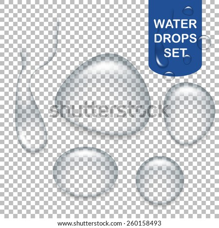 Set of realistic transparent water drops. Vector EPS10 illustration.  - stock vector