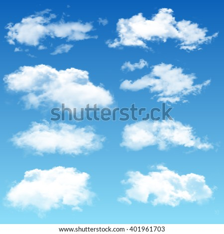 Set of realistic vector clouds - stock vector