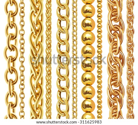 Set of realistic vector golden chains. Vector illustration of gold links isolated on white background - stock vector
