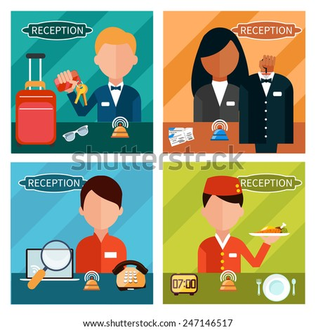 Set of reception character in different interactive places in hotel, restaurant, theater. Portrait of receptionist in flat design style on four banners  - stock vector