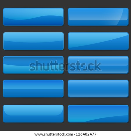 Set of rectangle horizontal shiny banner buttons with different gloss reflections over, eps10 vector, color is easy to edit - stock vector
