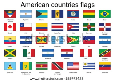 set of rectangle icons with flags of Americas - stock vector