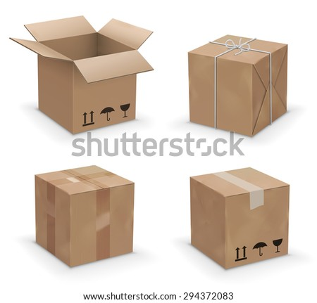 Set of recycle brown yellow box packaging. vector illustration - stock vector
