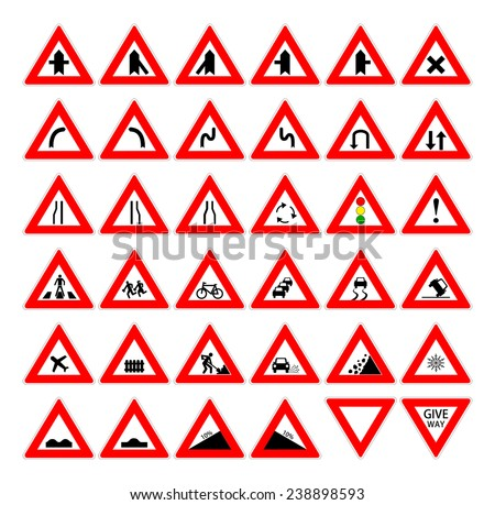 Set of red and black design triangle road safety sign. Collection of car and transportation warning traffic symbol. vector art image illustration, isolated on white background  - stock vector