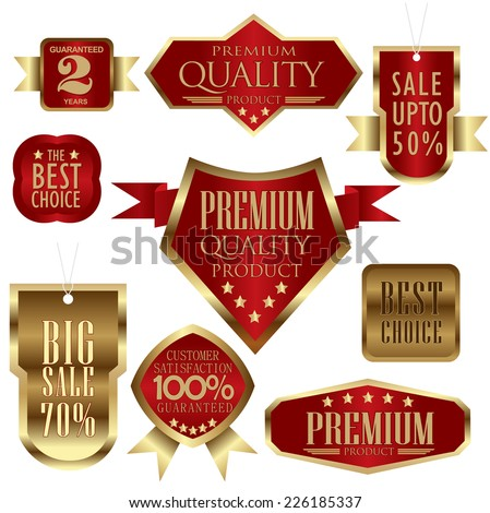 set of red and golden promotion, Premium Quality and Satisfaction Guaranteed sales/stickers labels  - quality and service - stock vector