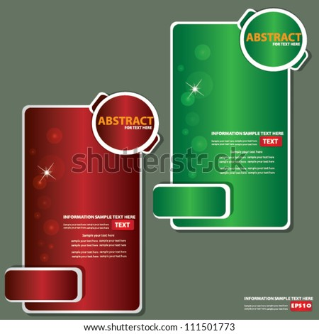 Set of red and green banners,Vector - stock vector
