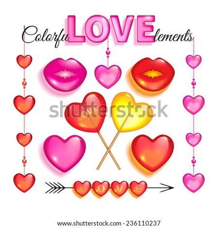 Set of red and pink glass love elements and lollipops isolated on a white background to Valentines day - stock vector