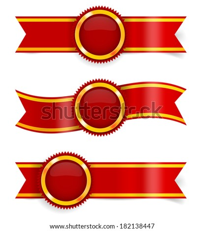 Set of red award ribbons and golden-red medals. Vector illustration - stock vector