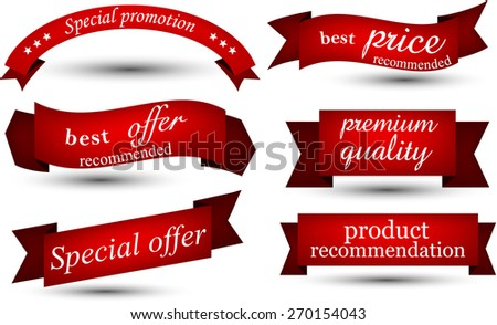 Set of red banners and ribbons. Vector illustration.  - stock vector