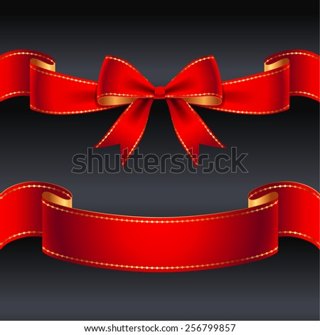 Set of red bow and ribbon for holiday design and decoration - stock vector