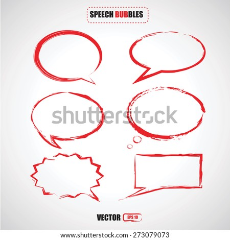 set of red brush stroke speech bubbles  vector - stock vector
