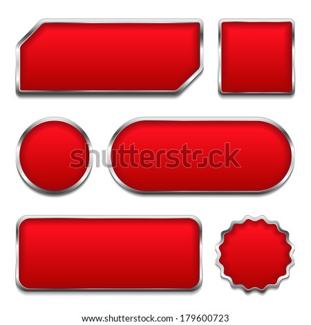 Set of red buttons with metallic frames, vector eps10 illustration - stock vector