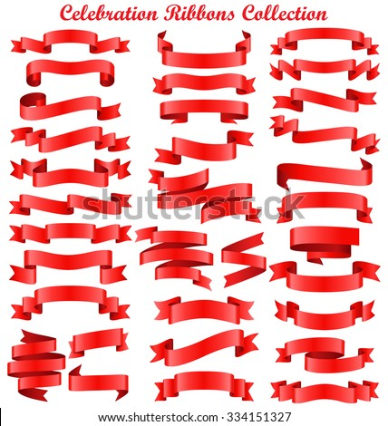 Set of Red Celebration Curved Ribbons Variations Isolated on White Background - stock vector