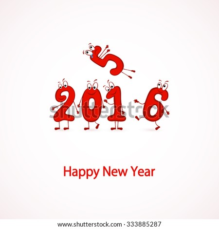 Set of red characters numbers, Happy New Year 2016, illustration. - stock vector