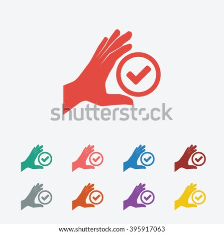 Set of: red Check hand vector icon, green Check hand icon, pink Check hand icon, blue Check hand icon, brown Check hand icon, gray Check hand icon, orange Check hand icon,  - stock vector