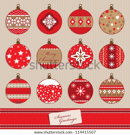 set of red christmas bauble decorations, with ribbon banner - stock vector