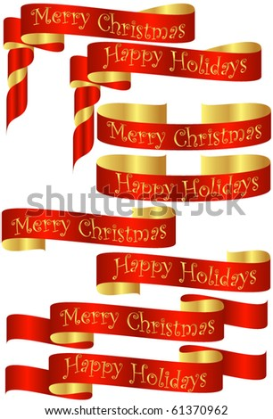 Set of Red Christmas Holiday Banners with Golden Accents - stock vector