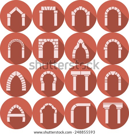 Set of red circle flat vector icons with white brick arch silhouette different types with long shadow on white background. - stock vector