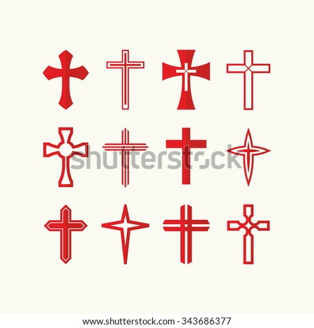 Set of red cross icons - stock vector