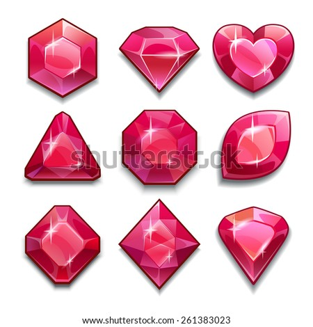 Set of red crystals with different shapes, isolated vector on white - stock vector