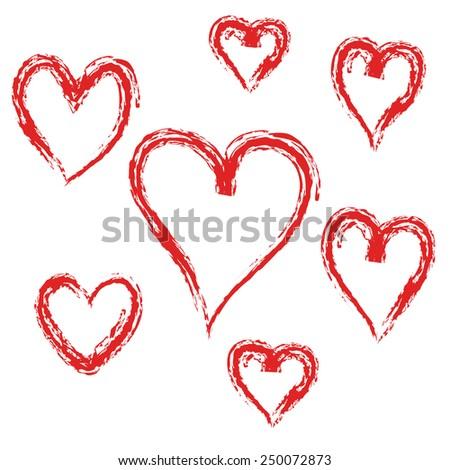 set of red heart  vector - stock vector