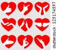 Set of 9 Red Hearts with Hand Gestures, Vector Illustration EPS10 - stock vector