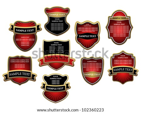 Set of red luxury labels and banners with gold frames. Jpeg version also available in gallery - stock vector