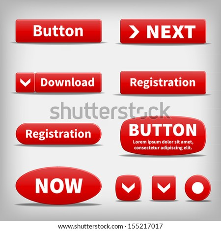 Set of red plastic internet buttons. Editable web tools. Variety of shapes. - stock vector