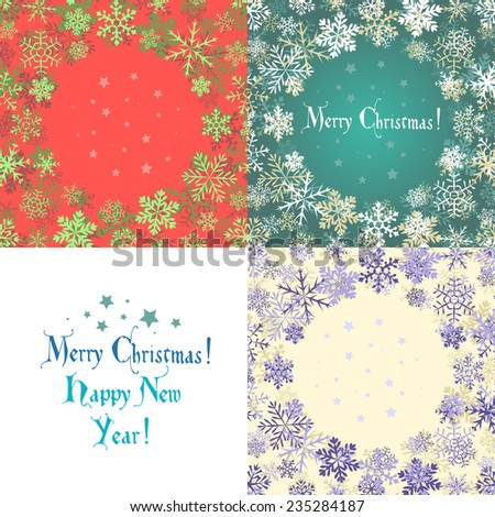 Set of  red, purple and blue backgrounds with snowflakes, shadow and falling stars. Can be used as greeting card for Christmas or New Year. - stock vector